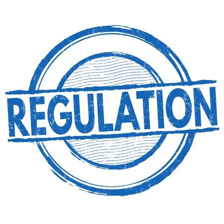 Sello de goma del grunge de la regulación o muestra en el fondo blanco, ilustración del vector