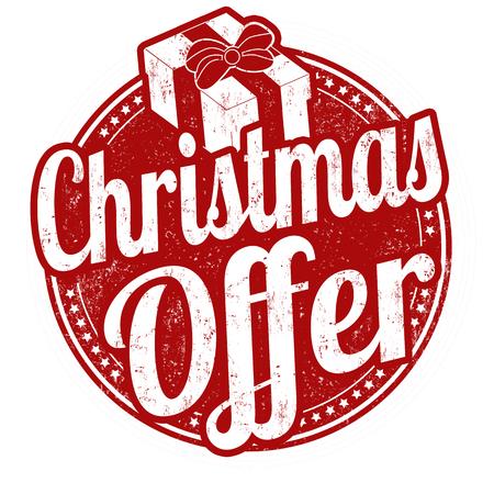 Christmas offer grunge rubber stamp on white background, vector illustration Illustration
