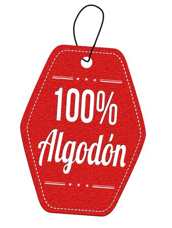 100% algod?n (100% cotton) red leather label or price tag on white ( in spanish language ), vector illustration Illustration
