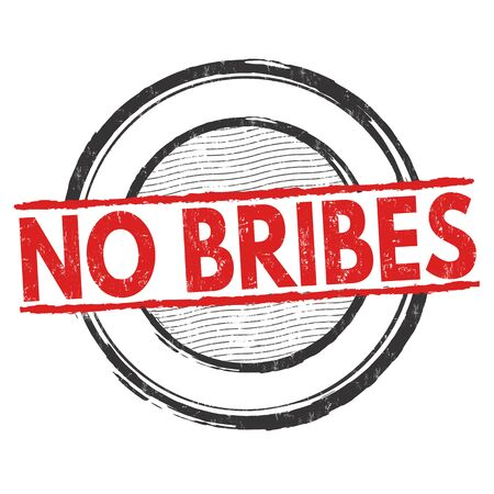 to refuse: No bribes grunge rubber stamp on white background, vector illustration