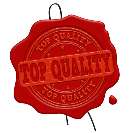 wax sell: Top Quality red wax seal isolated on white background, vector illustration