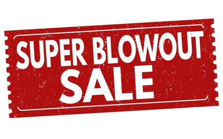 Super Blowout Vendita timbro di gomma grunge su sfondo bianco, illustrazione vettoriale