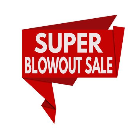 blowout: Super Blowout Sale origami speech bubble on white background, vector illustration