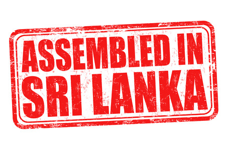assembled: Assembled in Sri Lanka grunge rubber stamp on white background, vector illustration