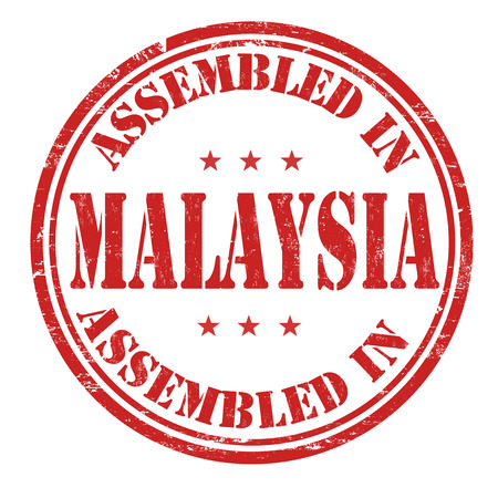 assembled: Assembled in Malaysia grunge rubber stamp on white background, vector illustration