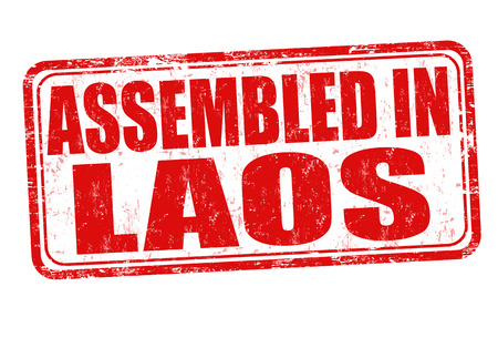 assembled: Assembled in Laos grunge rubber stamp on white background, vector illustration
