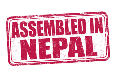 assembled: Assembled in Nepal grunge rubber stamp on white background, vector illustration