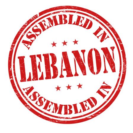 assembled: Assembled in Lebanon grunge rubber stamp on white background, vector illustration
