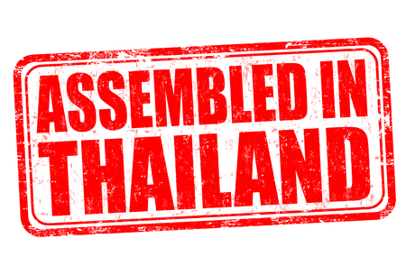 assembled: Assembled in Thailand grunge rubber stamp on white background, vector illustration