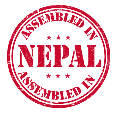 invent: Assembled in Nepal grunge rubber stamp on white background, vector illustration