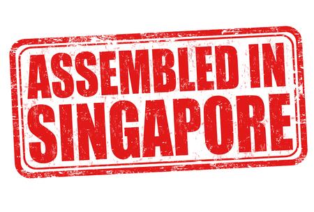 assembled: Assembled in Singapore grunge rubber stamp on white background, vector illustration Illustration