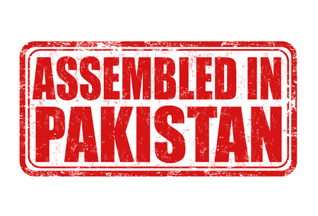 assembled: Assembled in Pakistan grunge rubber stamp on white background, vector illustration
