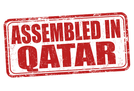 manufactured: Assembled in Qatar grunge rubber stamp on white background, vector illustration