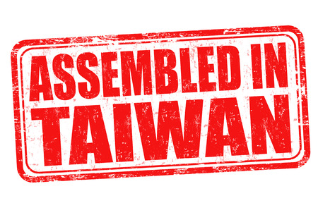 assembled: Assembled in Taiwan grunge rubber stamp on white background, vector illustration