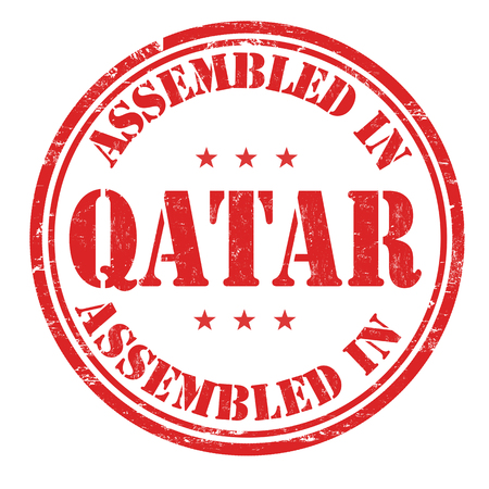 assembled: Assembled in Qatar grunge rubber stamp on white background, vector illustration