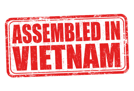 exported: Assembled in Vietnam grunge rubber stamp on white background, vector illustration