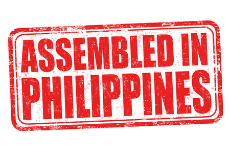 assembled: Assembled in Philippines grunge rubber stamp on white background, vector illustration