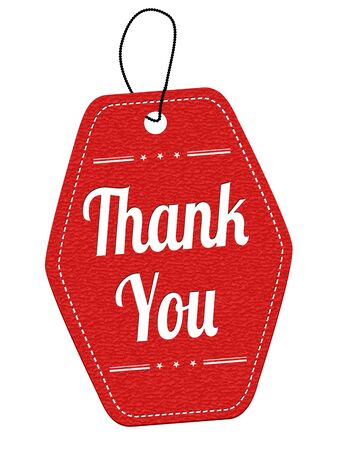 Thank you red leather label or price tag on white background, vector illustration Illustration