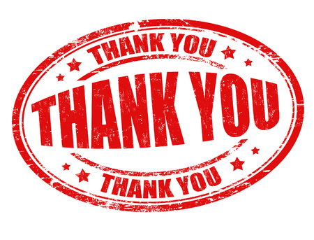 announcements: Thank you grunge rubber stamp on white background, vector illustration