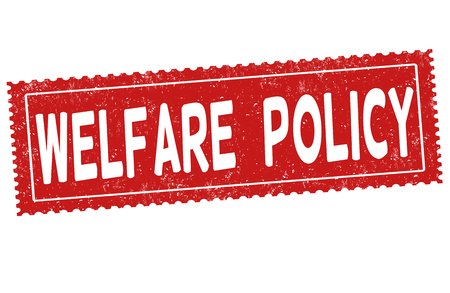 intervention: Welfare policy grunge rubber stamp on white background, vector illustration