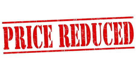 Preis reduziert Grunge-Stempel auf weißem Hintergrund, Vektor-Illustration