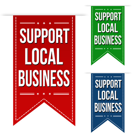 local business: Support local business banner design set over a white background, vector illustration