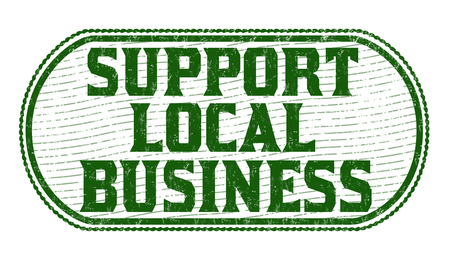 quality regional: Support local business grunge rubber stamp on white background, vector illustration