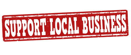 regional product: Support local business grunge rubber stamp on white background, vector illustration
