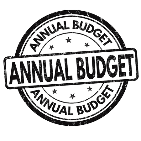 yearly: Annual budget grunge rubber stamp on white background, vector illustration