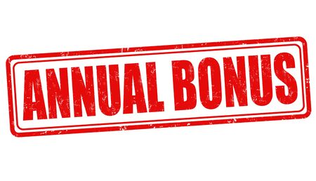 commercial sign: Annual bonus grunge rubber stamp on white background, vector illustration