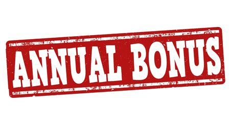 yearly: Annual bonus grunge rubber stamp on white background, vector illustration