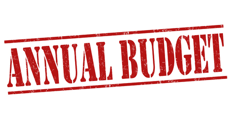 deficit target: Annual budget grunge rubber stamp on white background, vector illustration