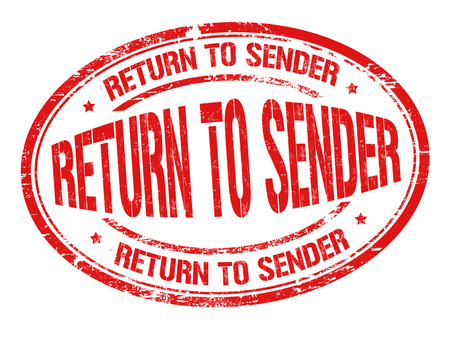Return to Sender rot Grunge-Stempel auf weißem Hintergrund, Vektor-Illustration