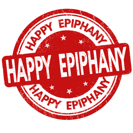 Happy Epiphany Day grunge rubber stamp on white background, vector illustration