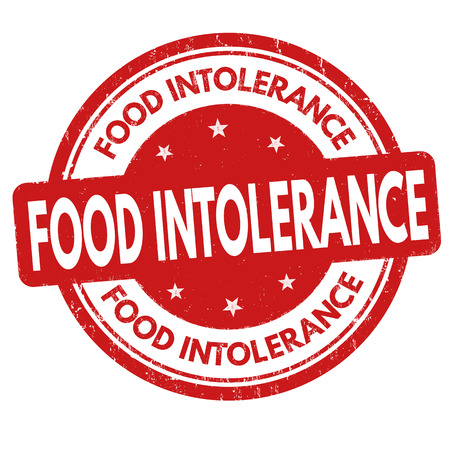 intolerancia: Food intolerance grunge rubber stamp on white background, vector illustration