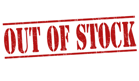 stockpile: Out of stock grunge rubber stamp on white background, vector illustration
