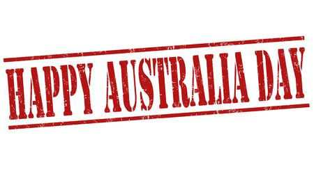 26th: Grunge Australia day rubber stamp on white, vector illustration