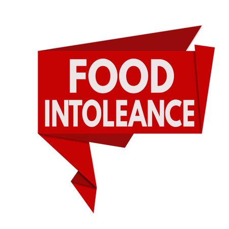 intolerancia: Food intolerance origami speech bubble on white background, vector illustration