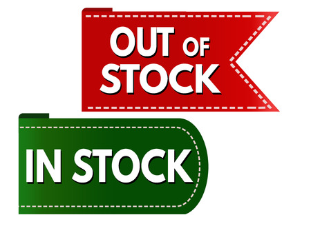 stockpile: In stock and out of stock banner design set over a white background, vector illustration