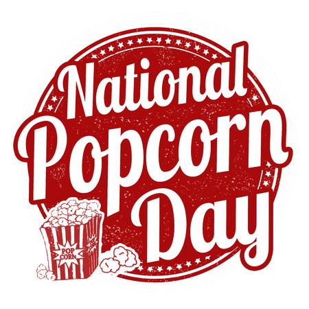 National popcorn day grunge rubber stamp, vector illustration