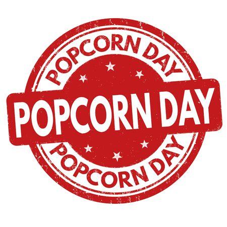 national: National popcorn day grunge rubber stamp, vector illustration Illustration