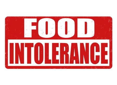 intolerancia: Food intolerance grunge rubber stamp on white background, vector illustration