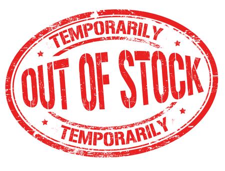 Fuori stock grunge timbro di gomma su sfondo bianco, illustrazione vettoriale Vettoriali