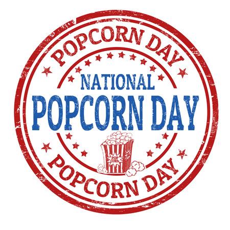 National popcorn day grunge rubber stamp, vector illustration Ilustração