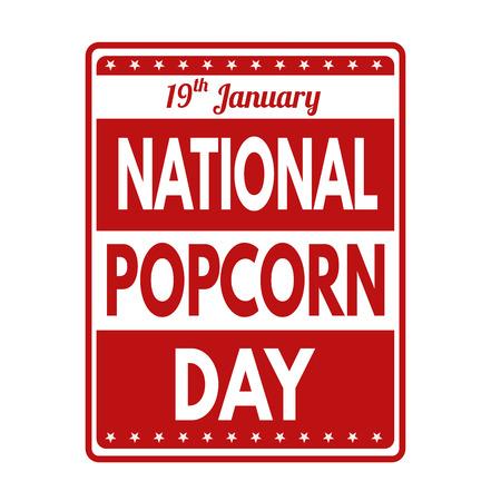 imperfections: National popcorn day grunge rubber stamp, vector illustration Illustration