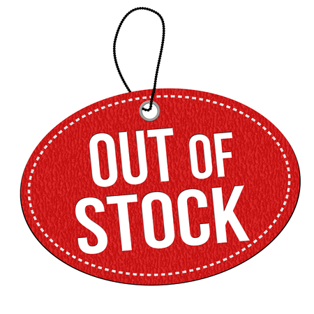 stockpile: Out of stock red leather label or price tag on white background, vector illustration