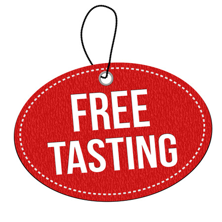 Free tasting red leather label or price tag on white background, vector illustration Illustration