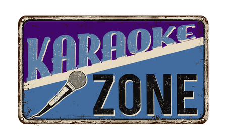vintage sign: Karaoke zone vintage rusty metal sign on a white background, vector illustration