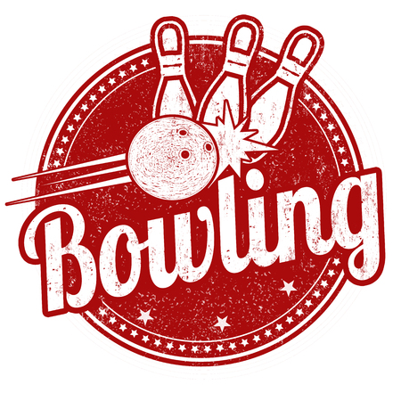Bowling grunge rubber stamp on white background, vector illustration Illustration