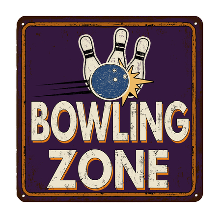 metal sign: Bowling zone vintage rusty metal sign on a white background, vector illustration